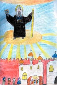 Патриарх Тихон. Рисунок Маши Тряпкиной (9 лет)